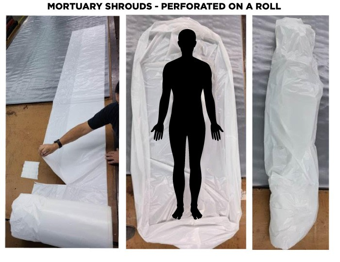 Mortuary Shroud - White - 2 mil | Case of 75